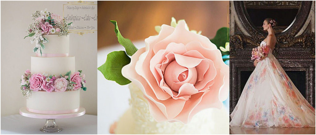 Свадебный торт - модные тренды 2018 Большие цветы украшения  на свадебном торте