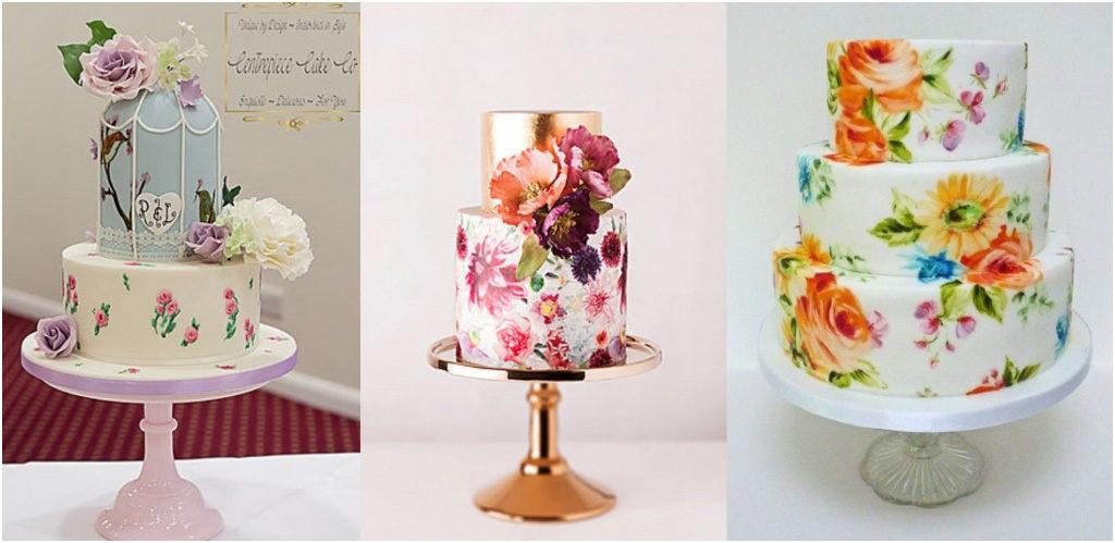 Свадебный торт - модные тренды 2018 Ручная роспись на свадебном торте