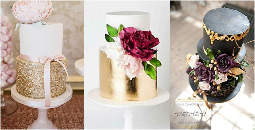 Свадебный торт - модные тренды 2018 Металлизация в оформлении свадебного торта