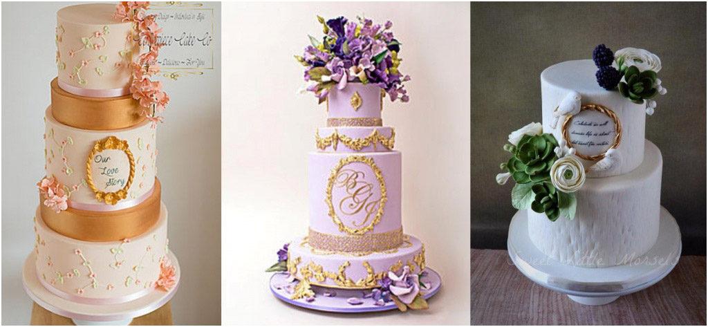 Свадебный торт - модные тренды 2018 Стройные торты на Вашей свадьбе Багеты и золоченные рамки на свадебном торте